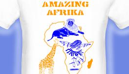 Afrika T-Shirt, Löwe, Giraffe und Afrika Tänzer Motive, designed by Kekeye