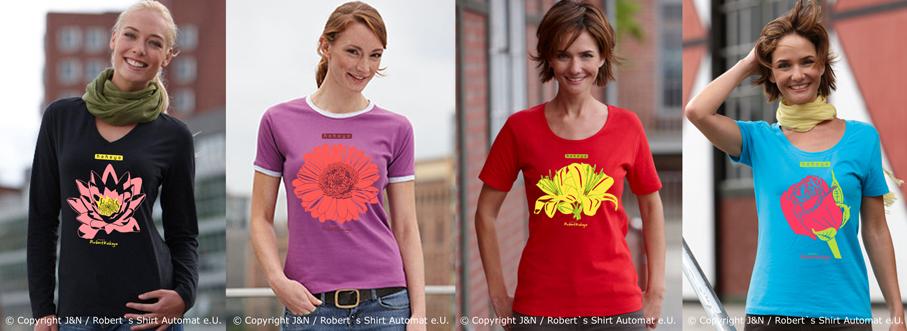 Blumen, Flowers Tshirt, Sommer Damen Shirts, Kekeye Design / Foto © J & N, Robert`s Shirt Automat e.U.