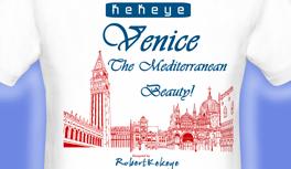 Venedig, Venice T-Shirt, Markusplatz und die Gondolas, designed by Kekeye