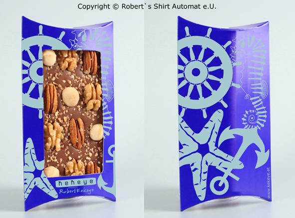 Maritime Design Schokolade, Anker, Ruder, Seepferd, Seestern / Foto © Robert`s Shirt Automat e.U.