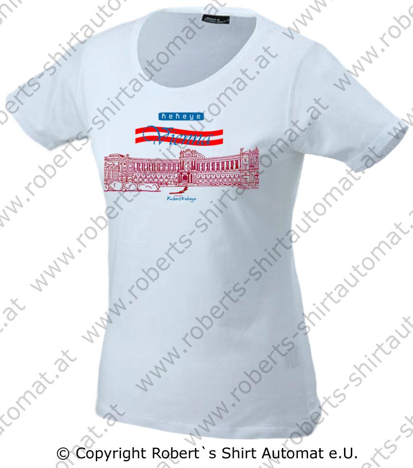 Hofburg Tshirt Wien Flagge, Kekeye Design, Damen Shirt Basic / Foto © Robert`s Shirt Automat e.U.