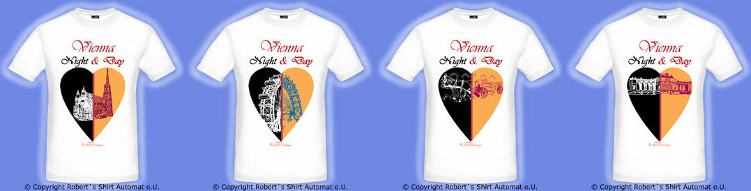 Vienna-Wien Tshirt, Night & Day White-Kollektion, Fiaker, Stephansdom, Riesenrad, Schönbrunn / Foto © Robert`s Shirt Automat e.U.