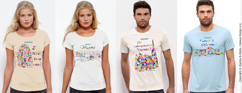 Wien, Vienna T-Shirts in Dots Design. Riesenrad, Kutsche / Fiaker, Stephansdom, Schönbrunn / Photo © Kekeye Design e.U.