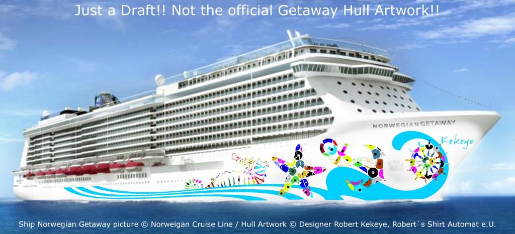 NCL Getaway Cruise Ship / Photo © Norwegian Cruise Line, Hull Artwork © Kekeye Design