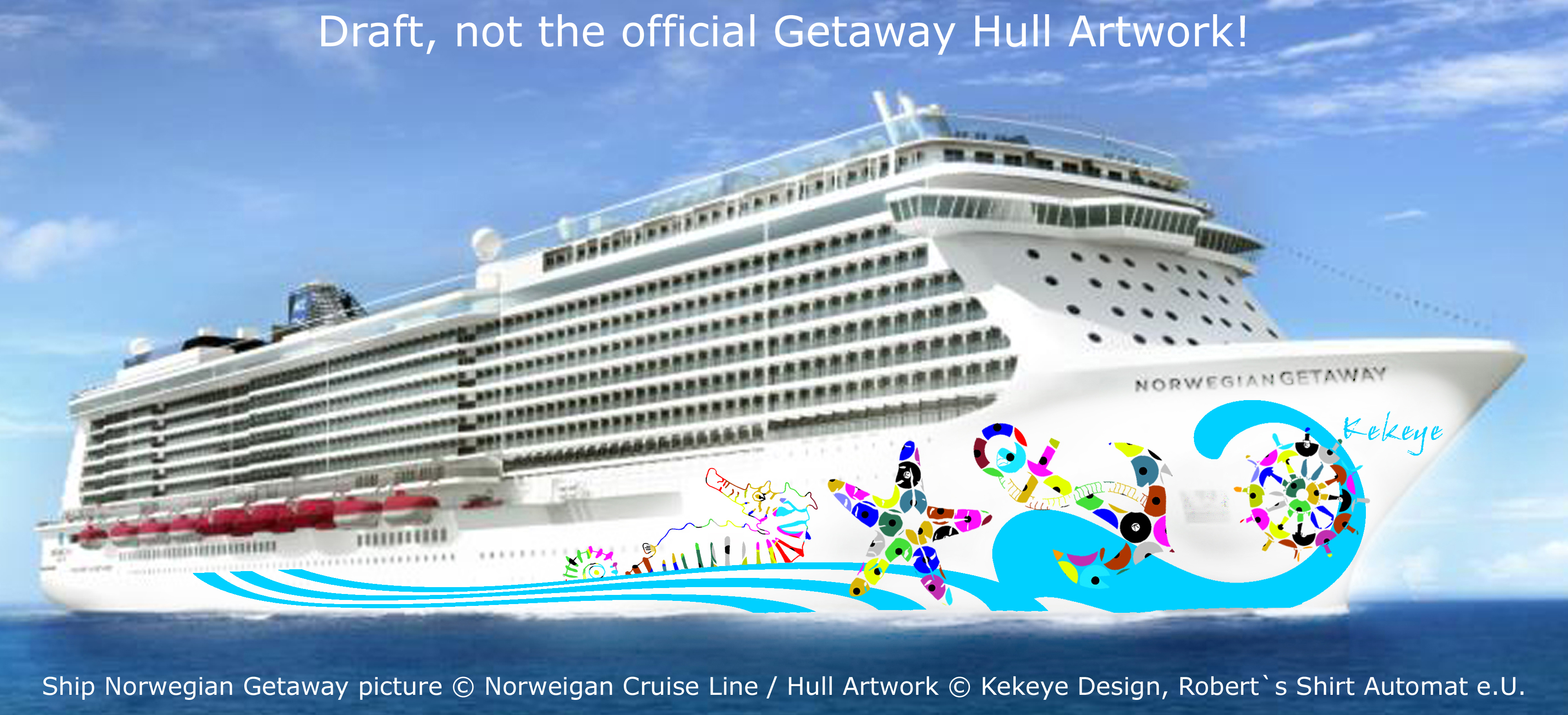 NCL Getaway Cruise Ship / Photo © Norwegian Cruise Line, Hull Artwork © Kekeye Design