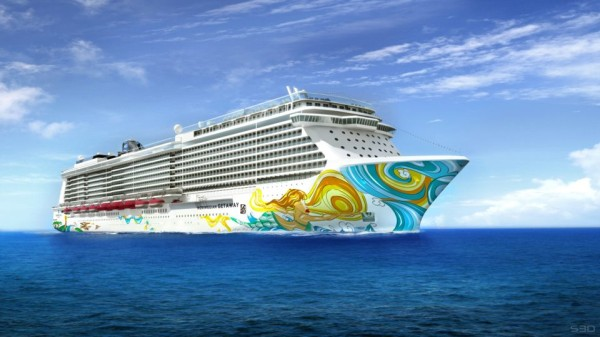 Cruise ship Norwegian Getaway Hull Artwork designed by David Lebo Lebatard / Photo © Norwegian Cruise Line