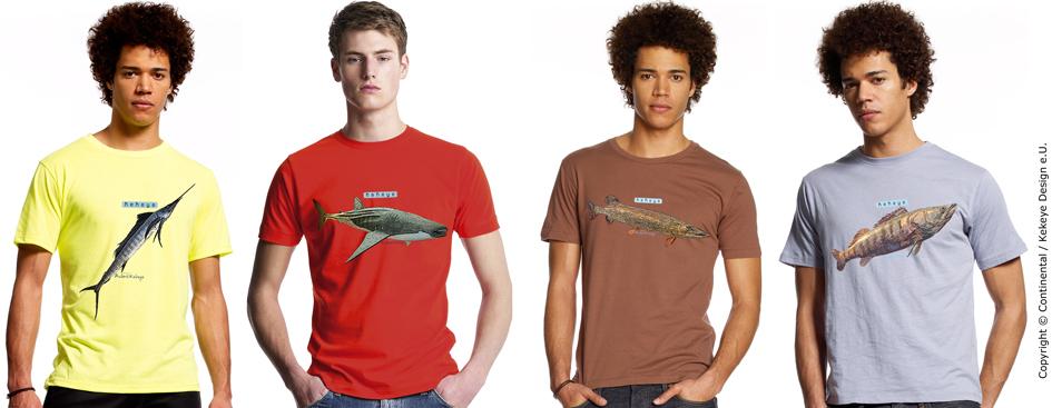Schwertfisch, Walhai, Hecht, Zander Tshirt, Angler, Fischer Shirts / Fotos © Continental, Kekeye Design e.U.