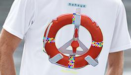Rettungsring, Lifebelt marine T-Shirts im Kekeye Dots und Ölfarbe Design - maritime Motive