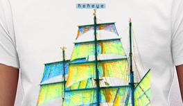 Segel, Segelschiff, Kreuzfahrtschiff T-Shirt, Maritime Motive im Kekeye Kontrast Design