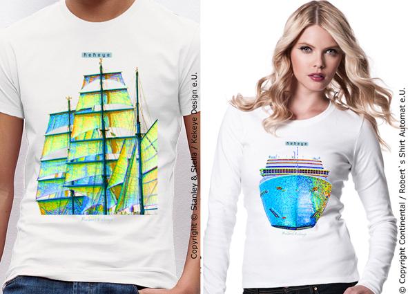 Segelschiff / Segel, Kreuzfahrtschiff T-Shirts im Kekeye Kontrast Design / Copyright © Kekeye Design e.U.