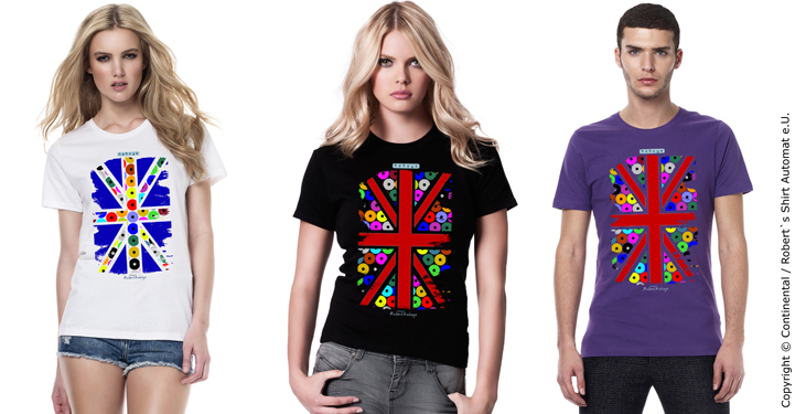 England Flagge, T-Shirts in Kekeye Dots Design / Foto © Continental Clothing / Kekeye Design e.U.