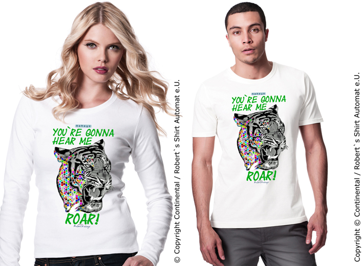 Tiger, Roar Shirts in Kekeye Dots Design / Foto © Kekeye Design, Robert`s Shirt Automat e.U.