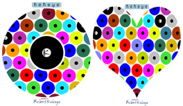 Formen & Farben T-Shirt Kollektion in Kekeye Dots Design, Kugel, Herz, Stern, Dreieck