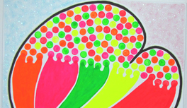 "Gemälde ""My Heart will go on"" in Kekeye Dots Design, Neon Farben & Glitter"