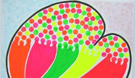 "Gemälde ""My Heart will go on"" in Kekeye Dots Design, Neon Farben & Glitter"
