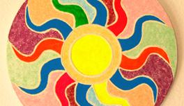 "Gemälde ""Sonne"" / Painting ""The Sun"" in Kekeye Design, Neon Farben & Glitter"