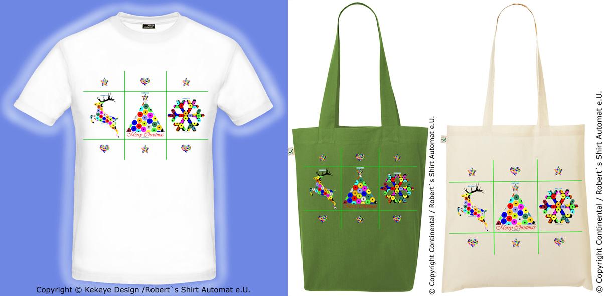 Weihnachten & Geschenke - T-Shirt und Tasche, Einkaufstasche Weihnachtsbaum, Renntier, Schneeflocke in Kekeye Dots Design / Foto © Kekeye Design, Robert`s Shirt Automat e.U.