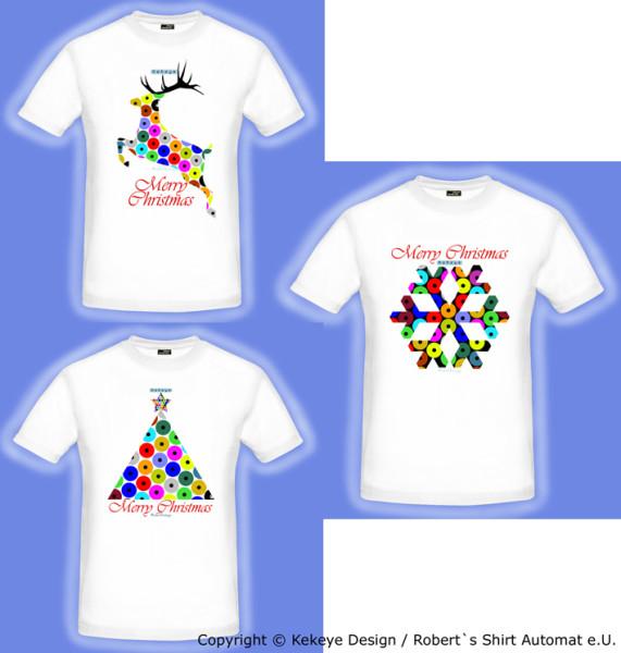 Weihnachten & Geschenke - T-Shirts Weihnachtsbaum, Renntier, Schneeflocke in Kekeye Dots Design / Foto © Kekeye Design, Robert`s Shirt Automat e.U.