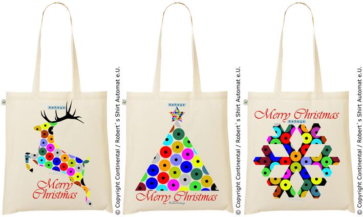 Weihnachten & Geschenke - Einkaufstasche Weihnachtsbaum, Renntier, Schneeflocke in Kekeye Dots Design / Foto © Kekeye Design, Robert`s Shirt Automat e.U.