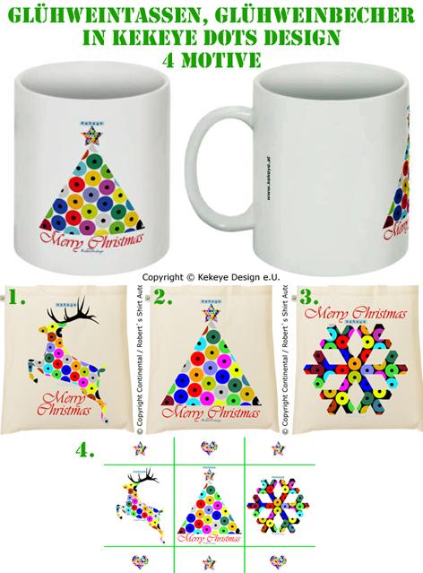 Glühweintassen, Glühweinbecher, Weihnachtstassen in Kekeye Dots Design - Renntier, Weihnachtsbaum, Schneeflocke / Foto © Kekeye Design e.U.