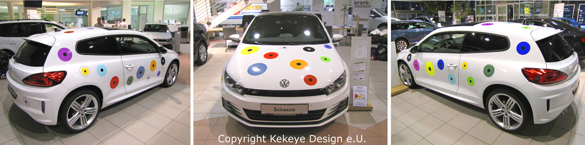 Volkswagen Scirocco in Kekeye Dots Design, Kooperation Porsche Wien-Pragerstraße, Porsche Inter Auto GmbH & Co KG / Foto © Kekeye Design e.U.