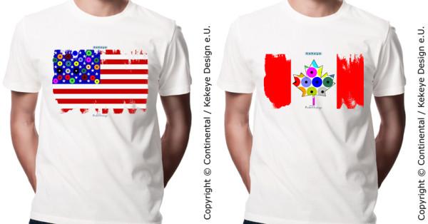 USA & Canada Flag T-shirts in Kekeye Dots Design / Photo © Kekeye Design e.U.
