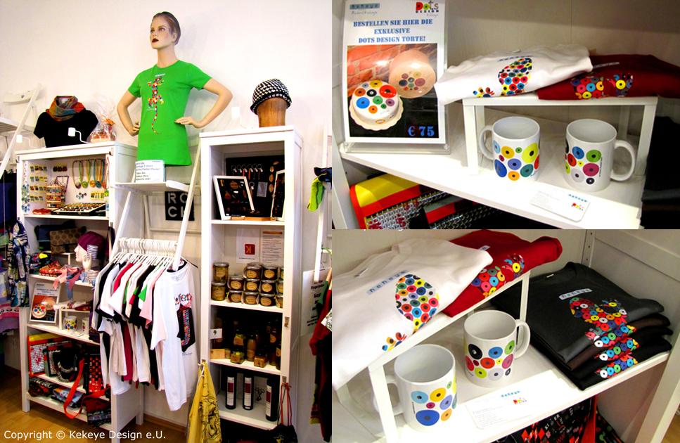 Das ein.Fach Geschäft im 8. Bezirk in Wien, Kekeye Design Dots T-Shirts, Tassen und das Zuckero Torten-Angebot  / Foto © Kekeye Design e.U.