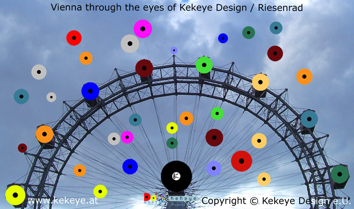 Riesenrad, Prater Wien, Prater Ferris Wheel Vienna in Dots Design / Photo © Kekeye Design e.U.