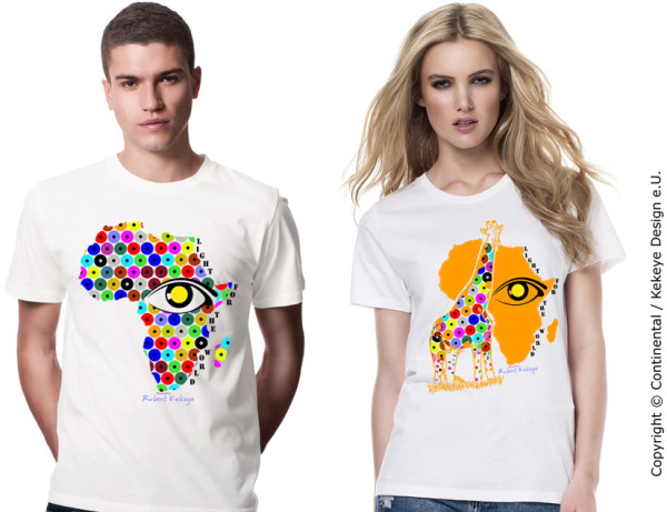 Africa T-shirt in Kekeye Dots Design, including 5 € donation for blind & visually impaired / Association Licht für die Welt as a cooperation partner / Photo © Kekeye Design e.U., Continental