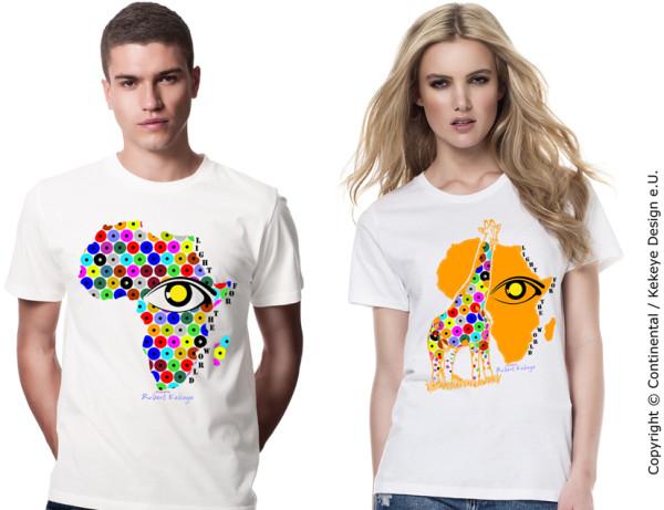 Afrika, Giraffe T-Shirt inkl. 5€ Spende für blinde und sehbehinderte Menschen! / Verein Licht für die Welt als Kooperationspartner / Foto © Kekeye Design e.U., Continental