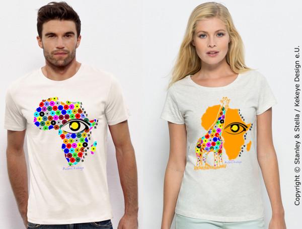 Afrika, Giraffe T-Shirt inkl. 5€ Spende für blinde und sehbehinderte Menschen! / Verein Licht für die Welt als Kooperationspartner / Foto © Kekeye Design e.U., Stanley & Stella