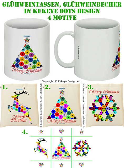 Glühweintasse, Becher - Auswahl von 4 Weihnachts - Motiven / Christmas Cup - choose from 4 Christmas Designs / © Kekeye Design e.U.