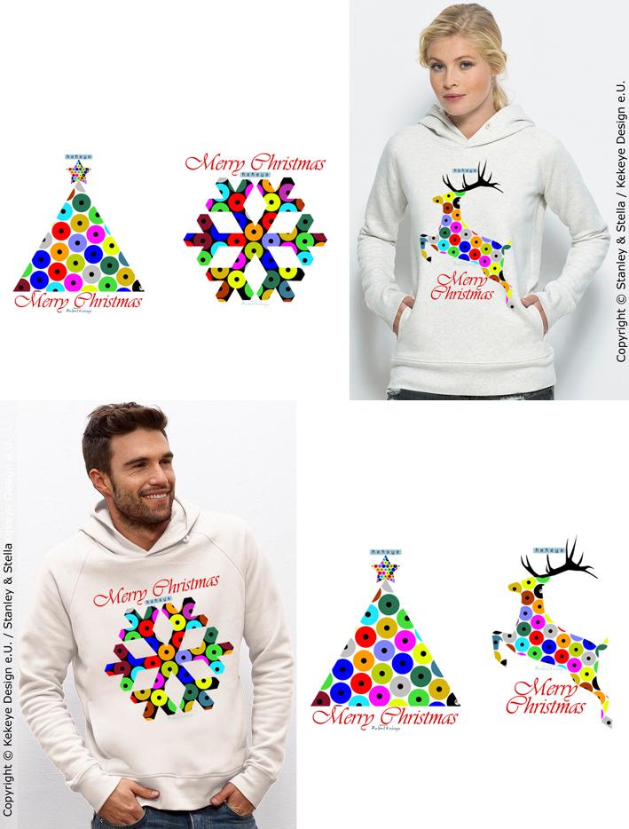 Hoody, Kaputzensweat - Auswahl von 4 Weihnachts - Motiven / Hoody - choose from 4 Christmas Designs / © Kekeye Design e.U.